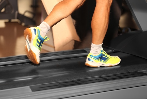 Male exercising on a treadmill