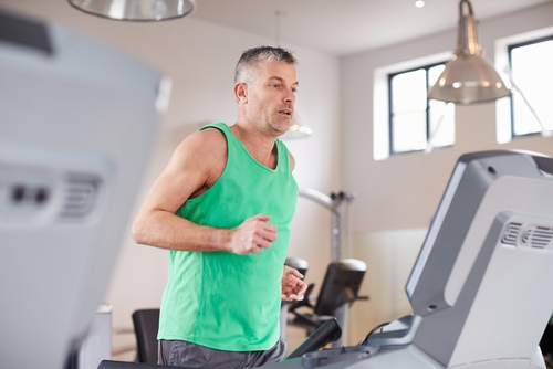 Man jogging on a treadmill